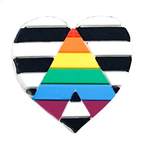 Straight Ally Rainbow Flag Silicone Heart Pin Badge