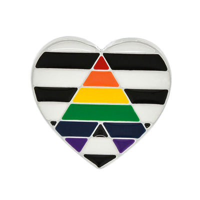 Straight Ally Flag Silver Plated Heart Pin Badge