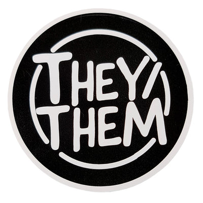Pronoun They/Them Circular Vinyl Waterproof Sticker