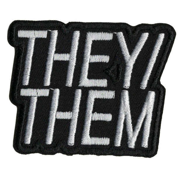 Pronoun They/Them Embroidered Iron-On Patch