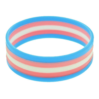 Transgender Flag Colours Silicone Wristband Large
