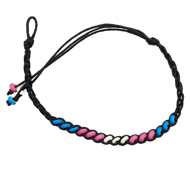 Transgender Flag Ceramic Bead Friendship Bracelet