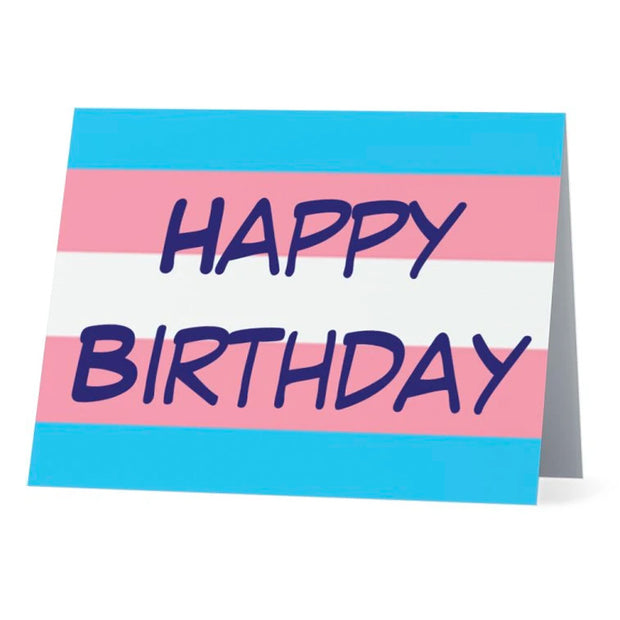 Flag Card Transgender Happy Birthday Pride Flag - Greetings Card
