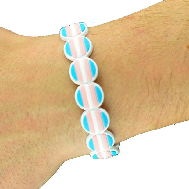 Transgender Flag Colours Adjustable Silicone Bracelet