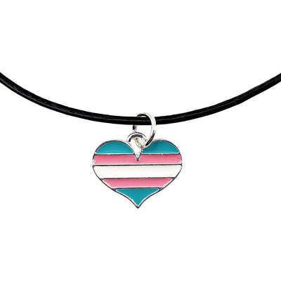Transgender Flag Silver Plated Charm Necklace