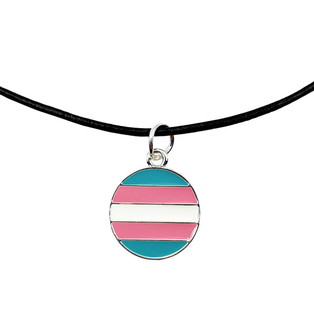 Transgender Flag Silver Plated Round Charm Necklace