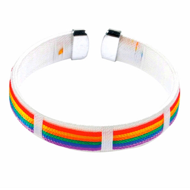 Gay Pride Rainbow Weaved Threads Bracelet (White)