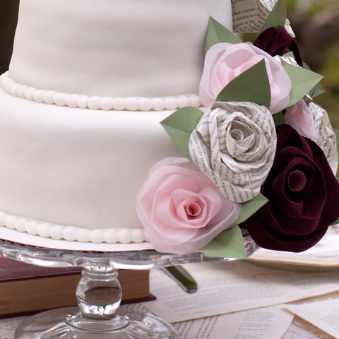 Wedding Cake with Paper Book Page Roses