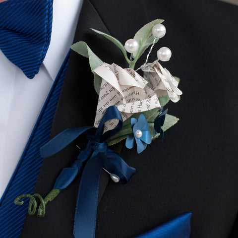 Book Page Rose Boutonniere