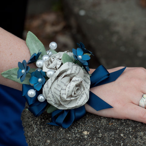 Book Page Rose Wrist Corsage
