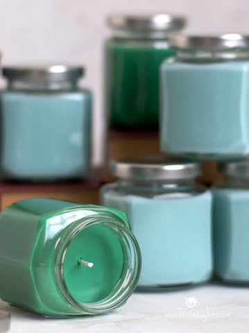 light blue and light green candles