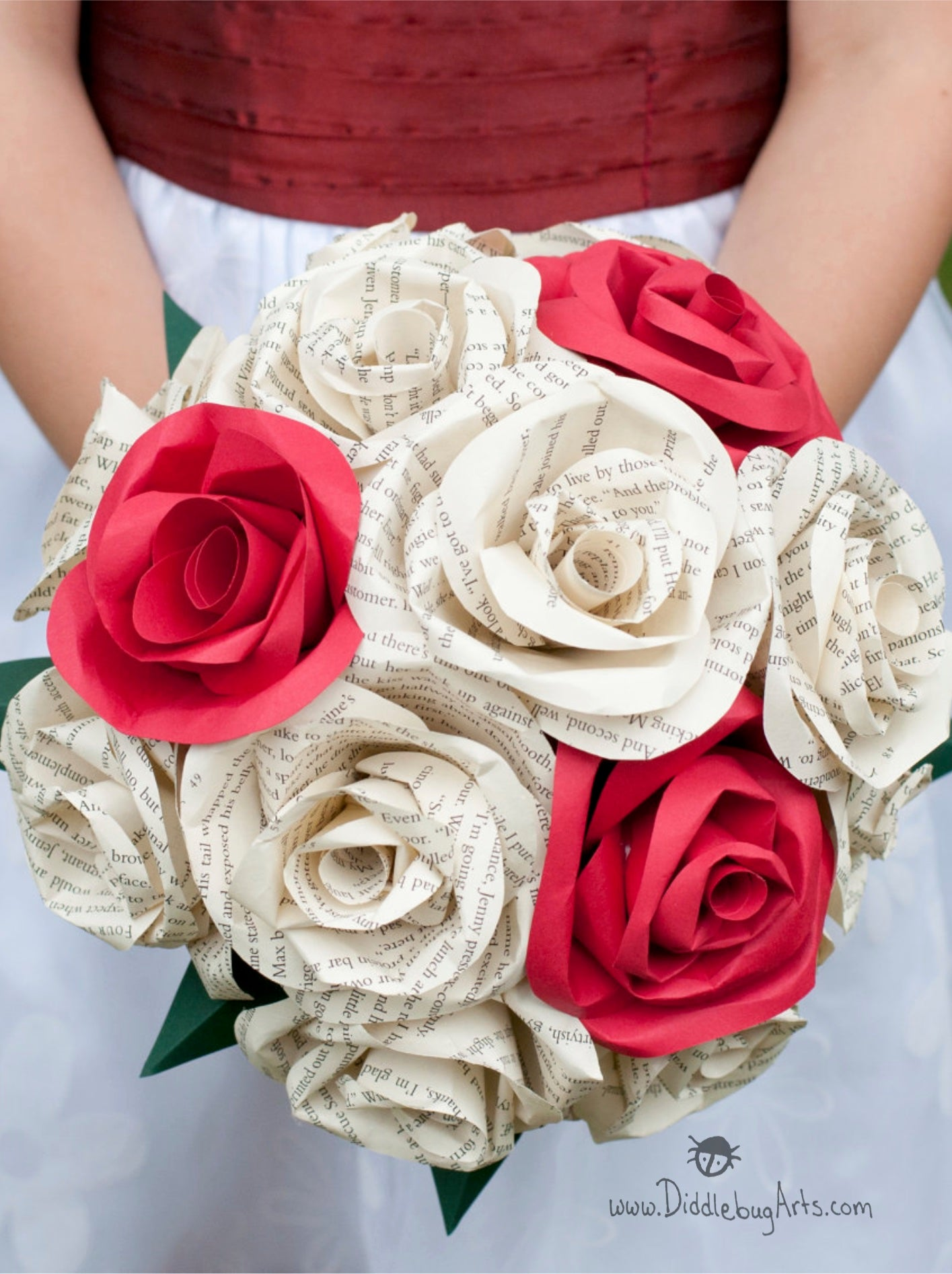 Book page and red paper rose bridal bouquet