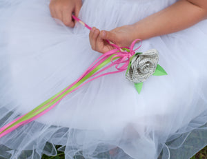 wedding flower girl wand with book page rose on the end and streamers