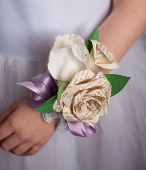 silk rose and paper book page or sheet music rose wrist corsage for prom