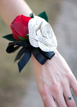 red silk rose and paper book page wrist corsage pearl bracelet