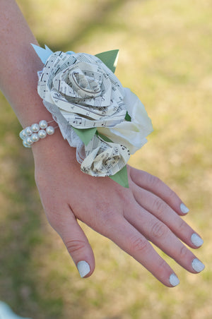 pearl bracelet with paper sheet music rose wrist corsage for prom
