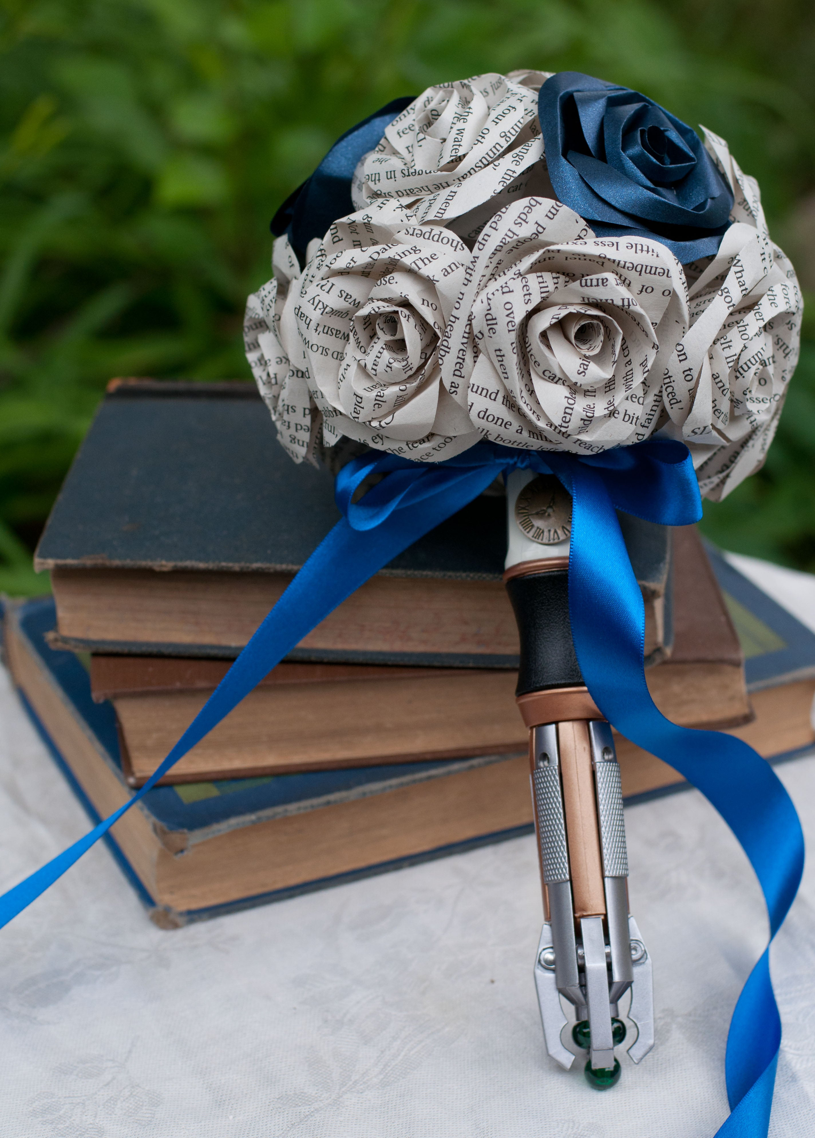 Dr Who sonic screwdriver handle bridal bouquet with books