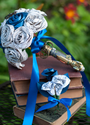River Song screwdriver Dr. Who bridal bouquet and boutonniere on books