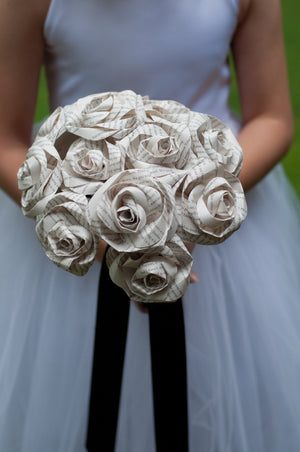 bridal bouquet made from book page roses