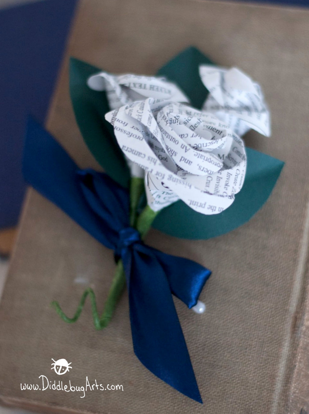 Book Page Pin On Rose and Buds Corsage