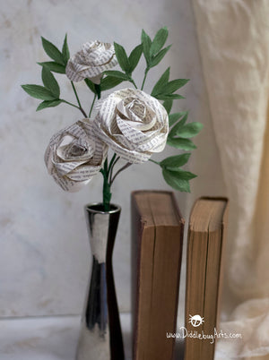 Three Book Page Rose and Crepe Paper Greenery Gift Bouquet