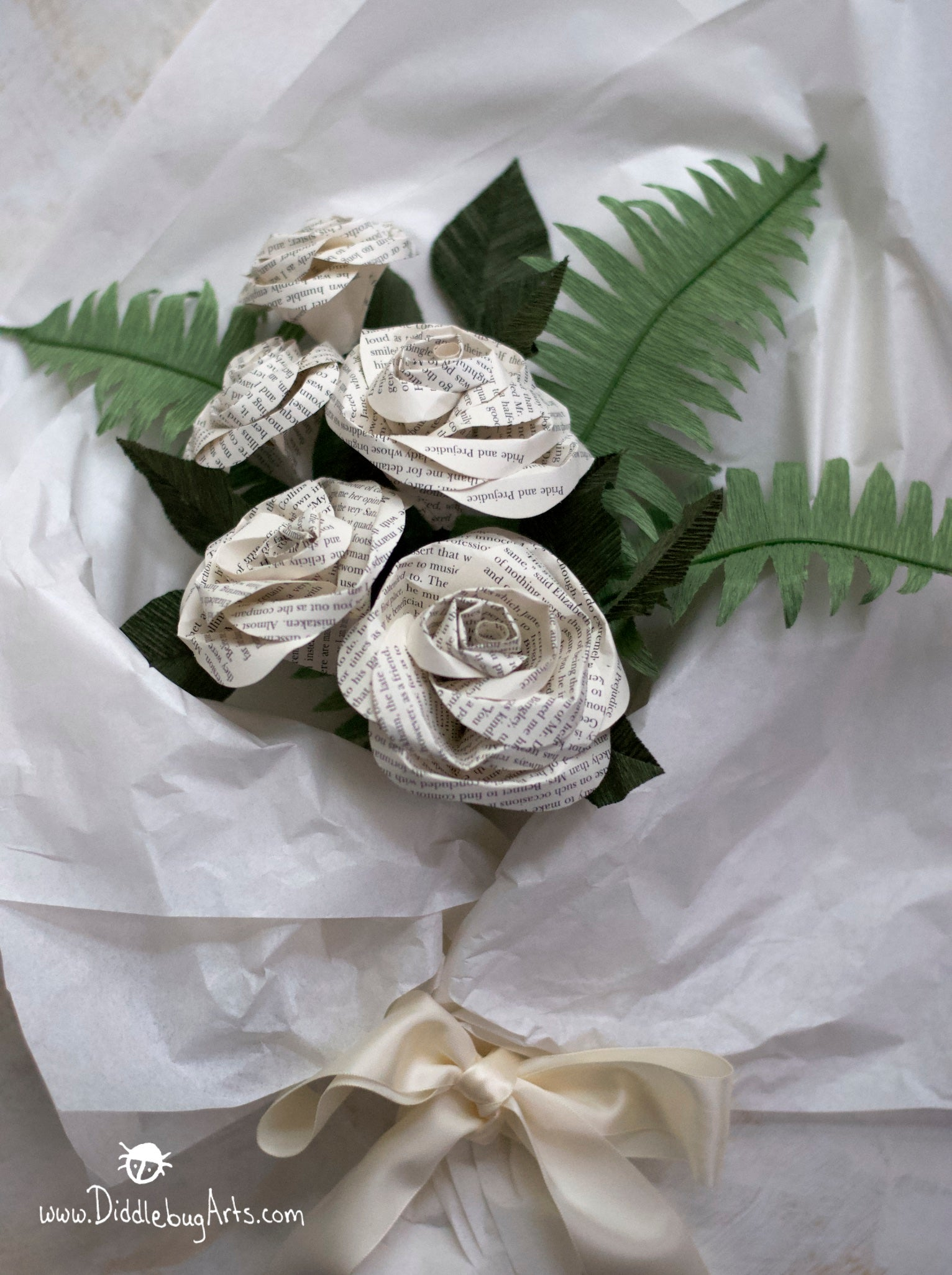 Five Book Page Roses with Crepe Paper Ferns and Rose Leaves Gift Bouquet
