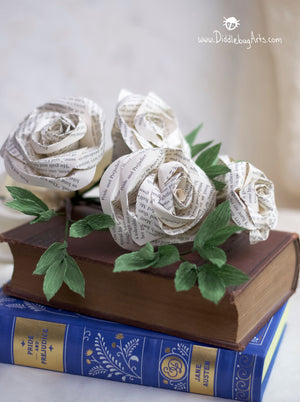 Five Book Page Roses and Greenery Gift Bouquet