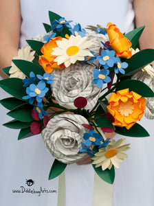 Paper rose and daisy and mum and book page bridal bouquet