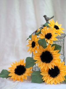 crepe paper sunflowers for a cake topper