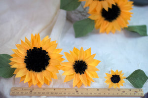 crepe paper sunflower cake topper flowers
