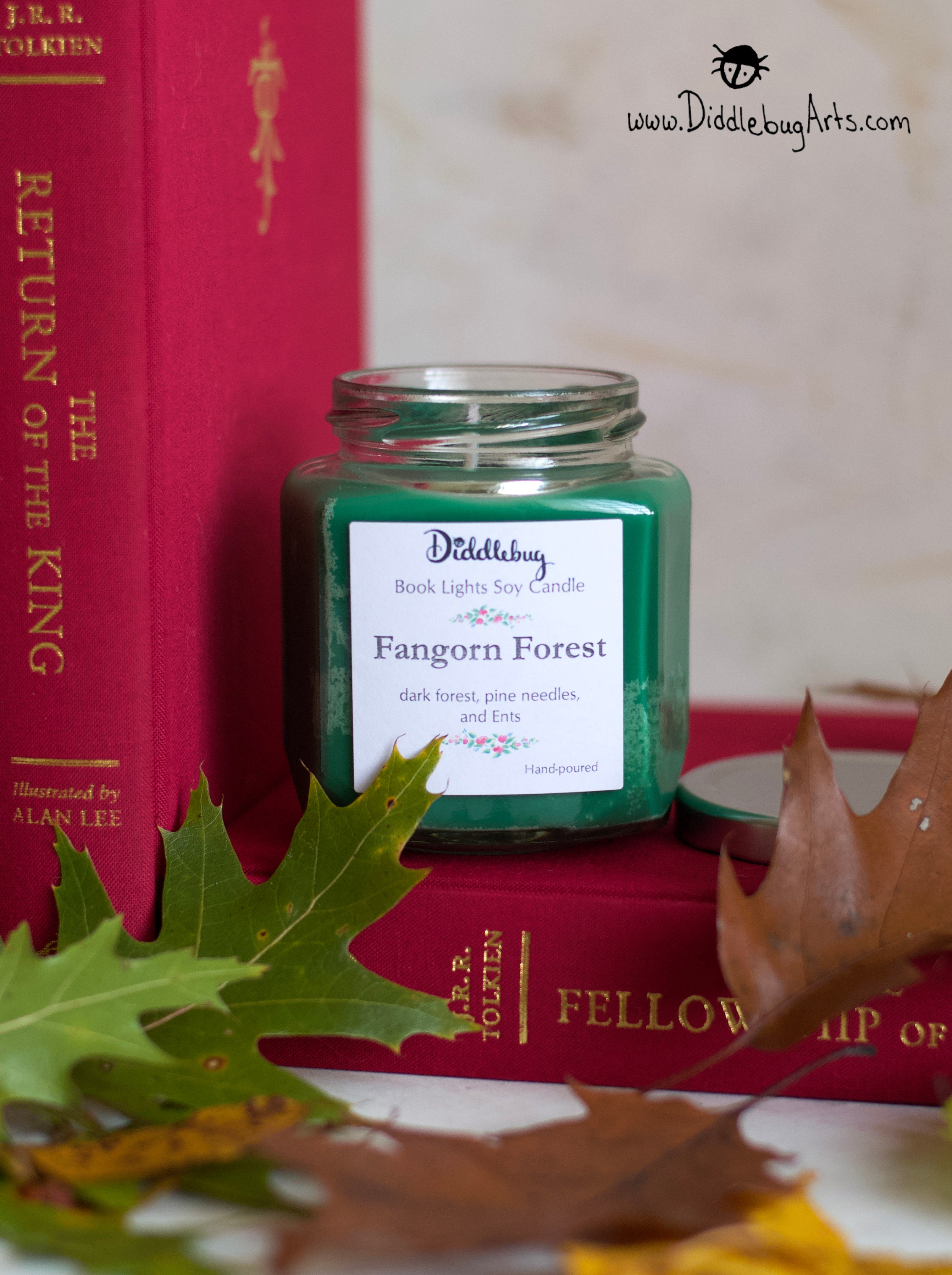 Hex glass fangorn forest soy candle
