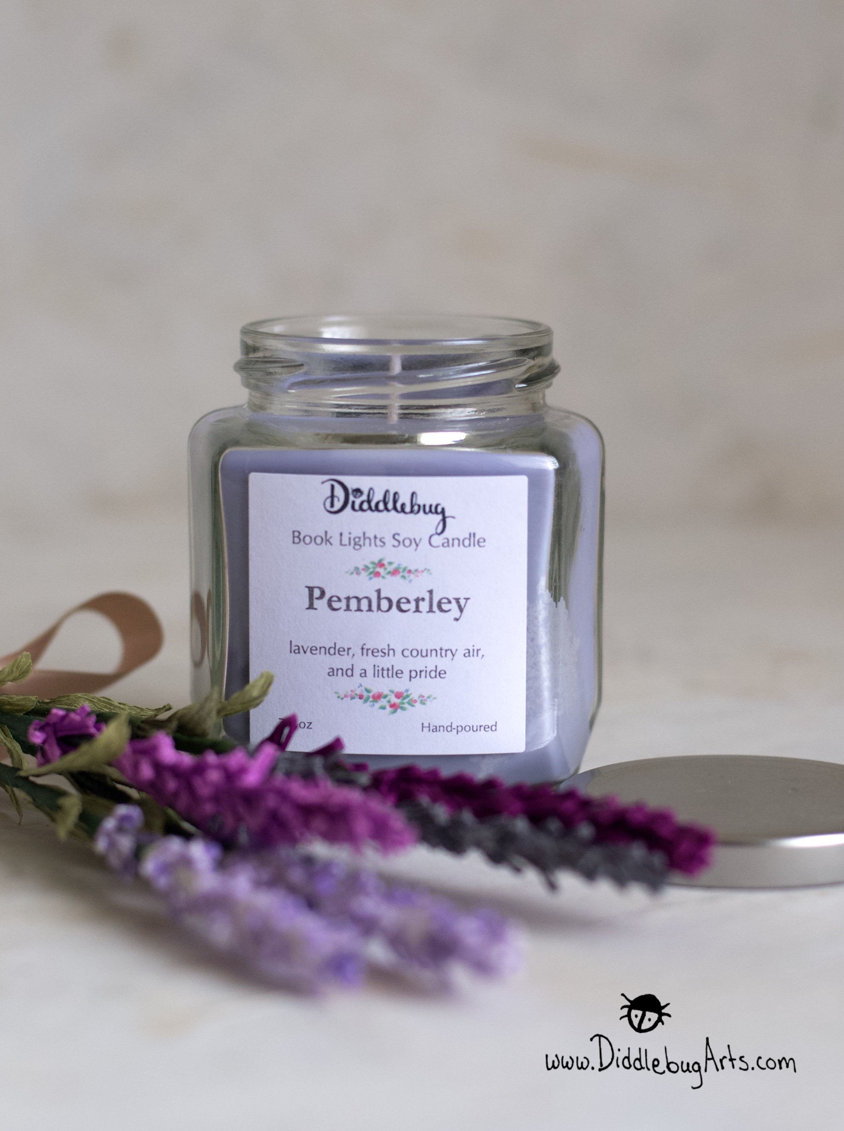 pride and prejudice themed candle