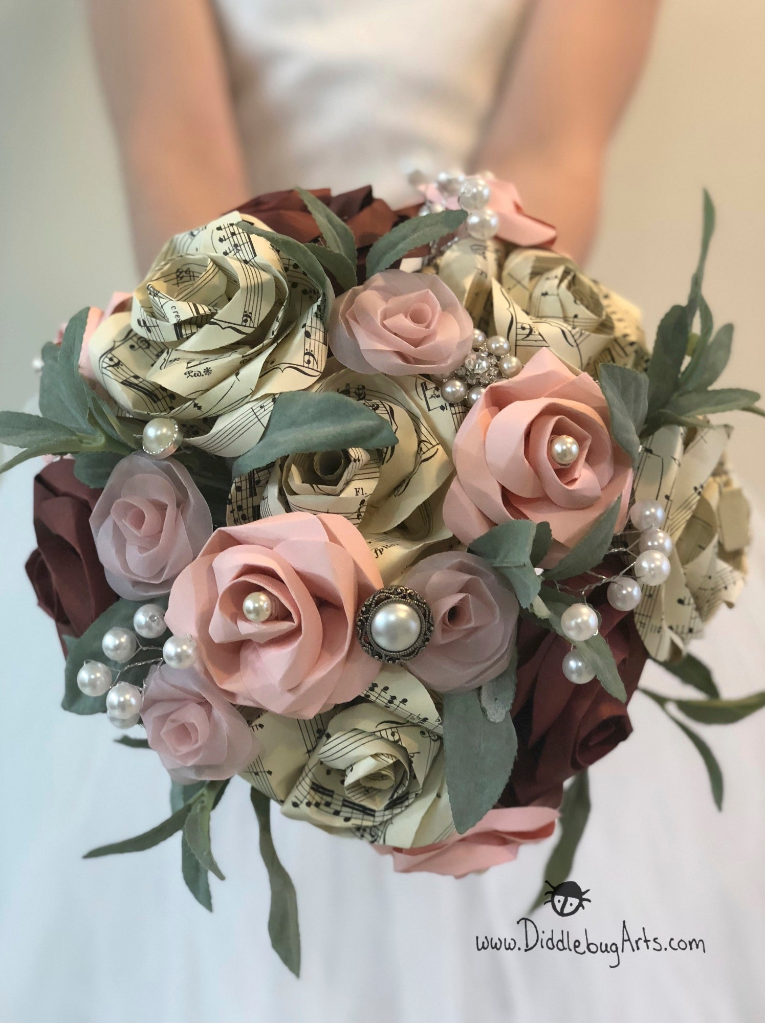 Paper bridal bouquet with book page or sheet music roses, pearls and silk greenery