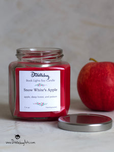 red snow white apple candle