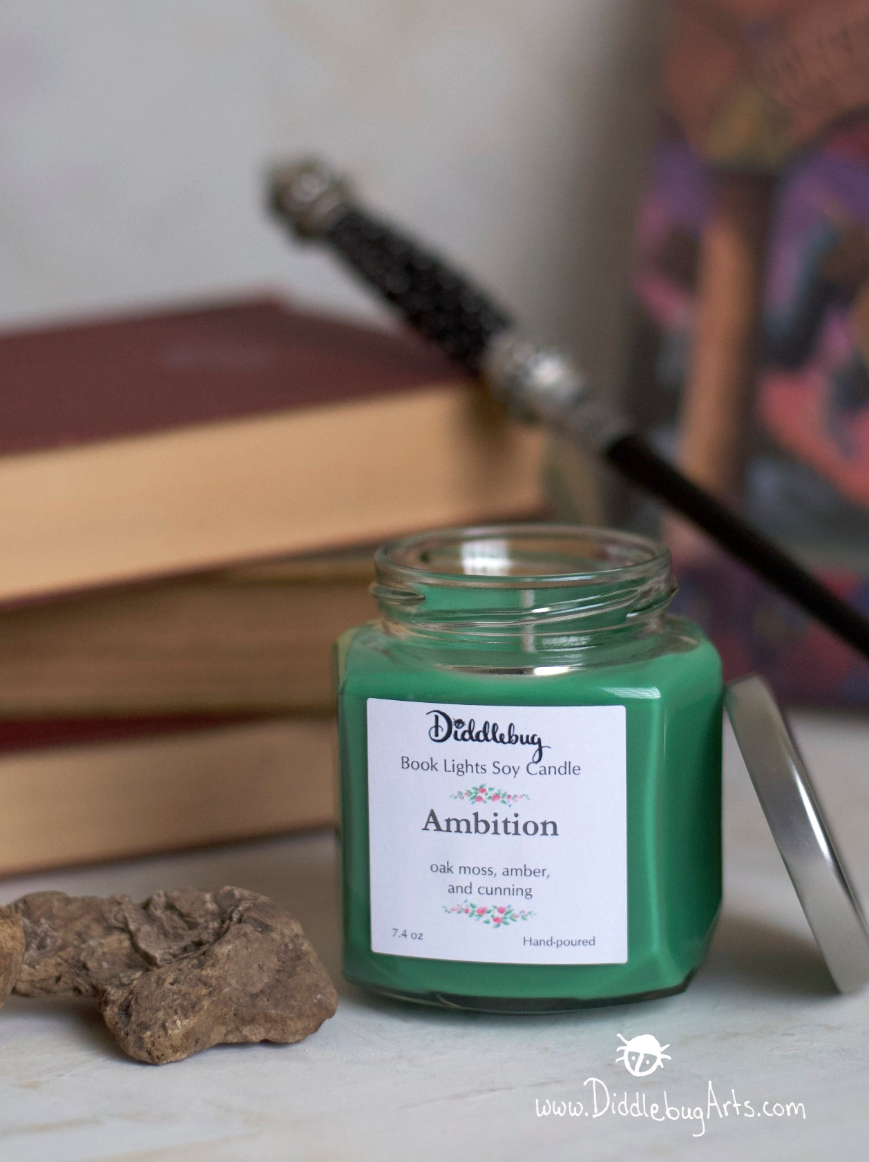 soy candle with scent based on Harry Potter books