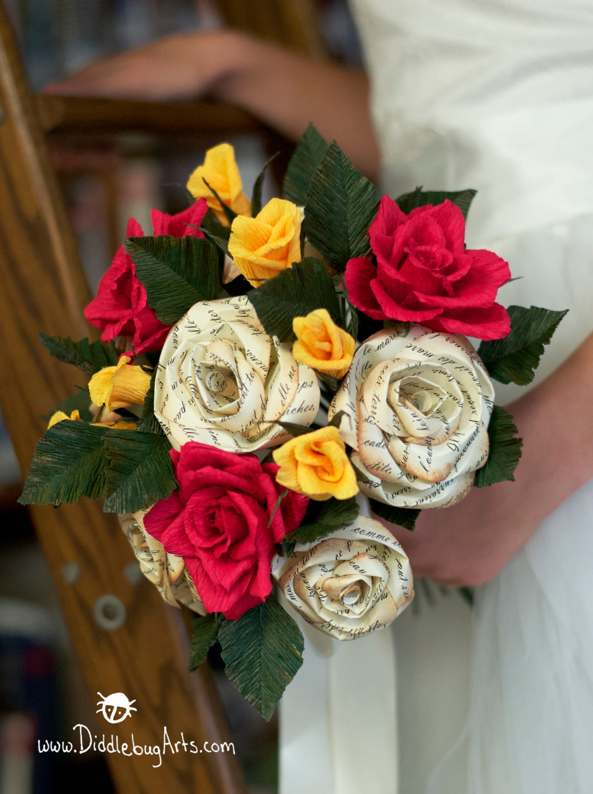 red and yellow beauty and the beast paper bridal bouquet