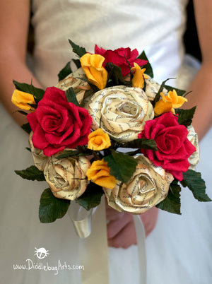 paper rose beauty and the beast wedding bouquet