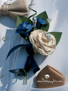 Prom boutonniere with book page rose and bling on a tux jacket