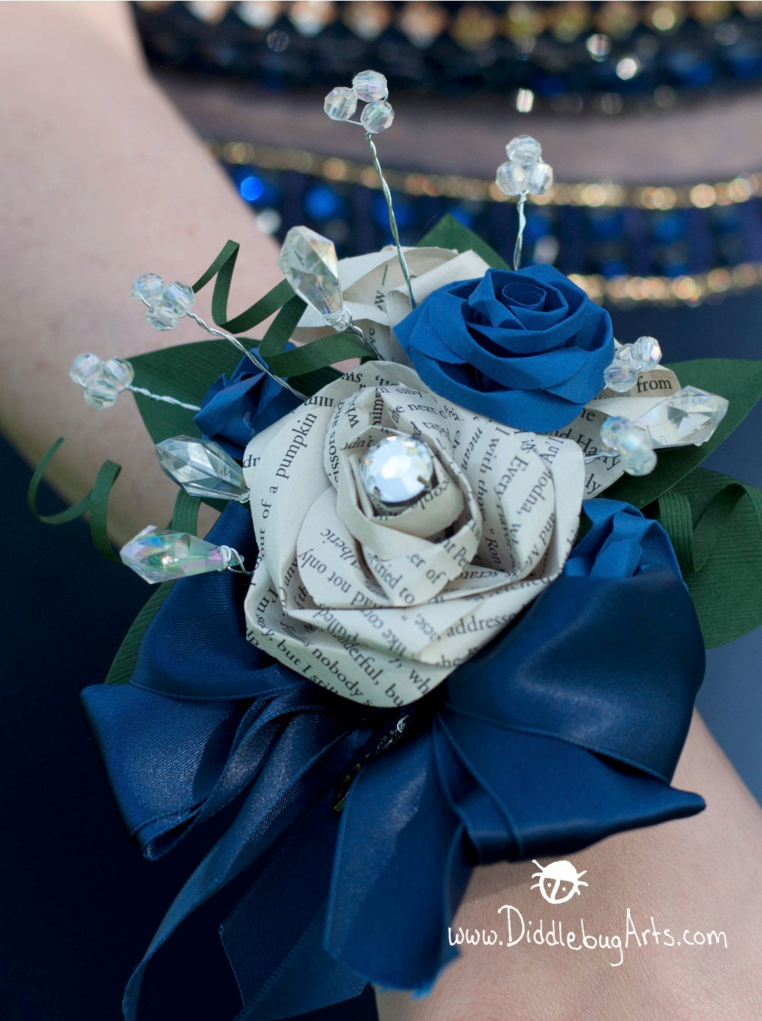Paper book page rose prom wrist corsage with dark blue and bling