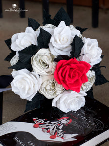 black and white and red paper rose bouquet with Night Circus book page roses