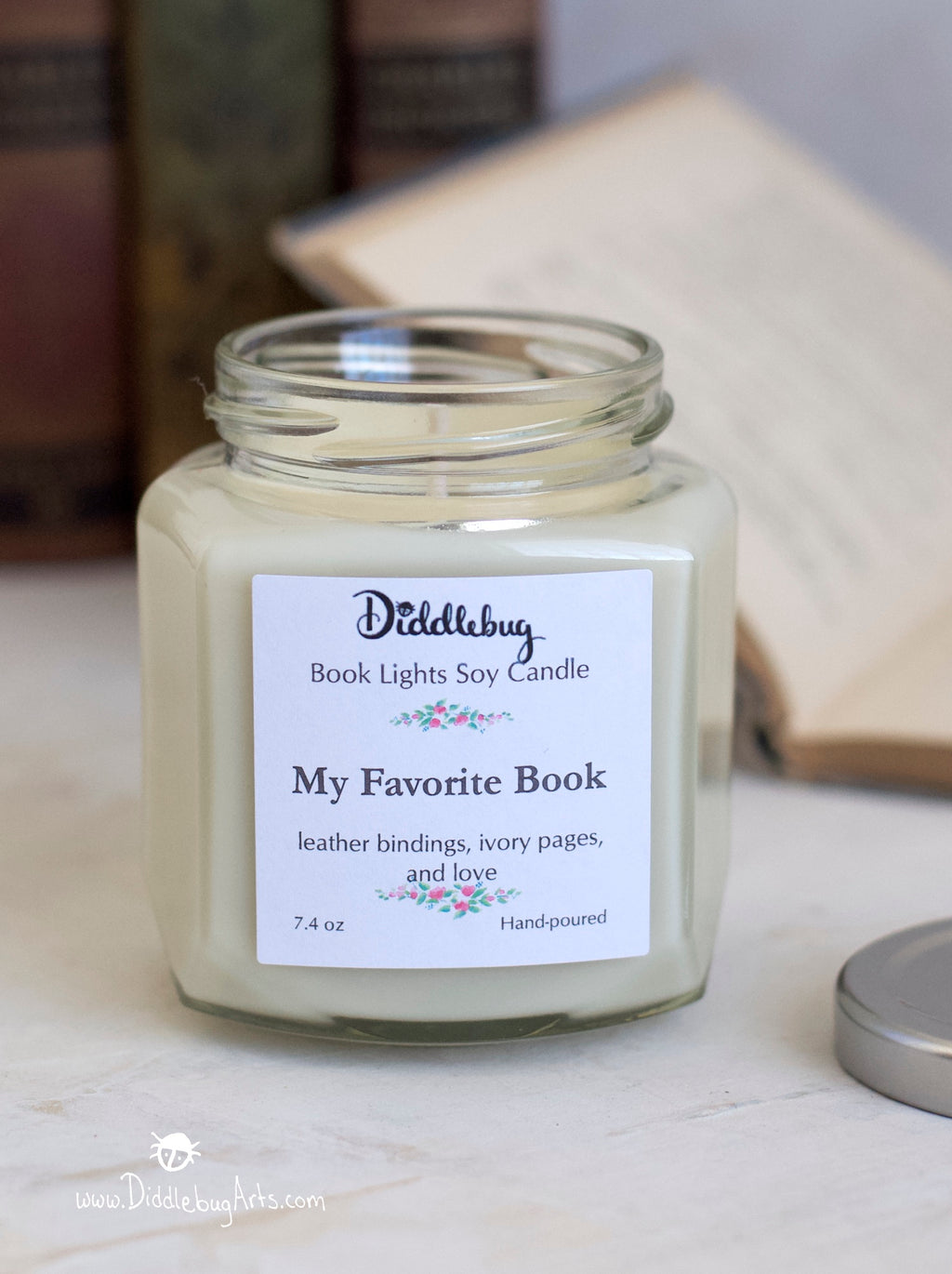 book scented soy candle