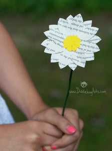 Book Page Daisy Single Paper Flower
