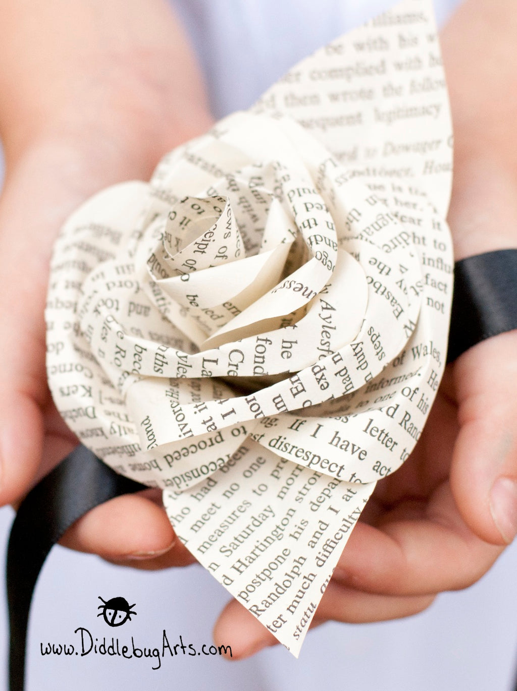 Book Page Single Rose Wrist Corsage on a Ribbon Tie