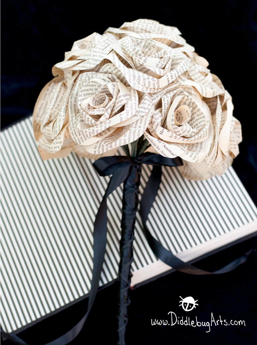 bridal bouquet made from book page paper roses