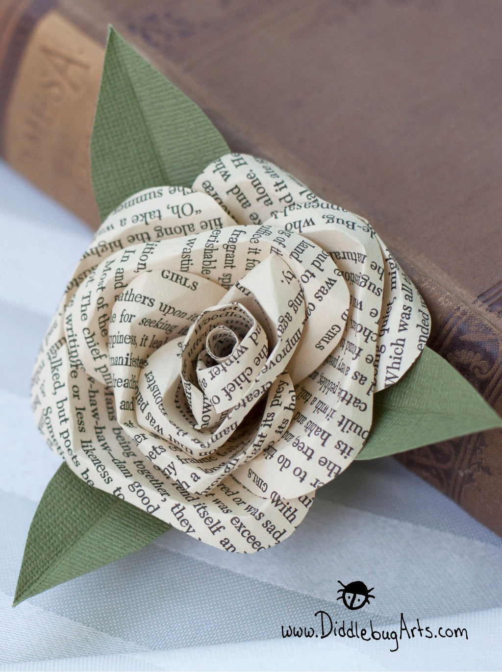 Book Page Pin On Corsage Rose Pin