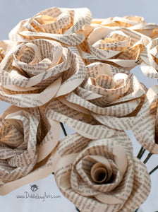paper roses made out of book pages