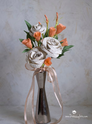 Book Page Rose Bouquet with Lisianthus and Greenery