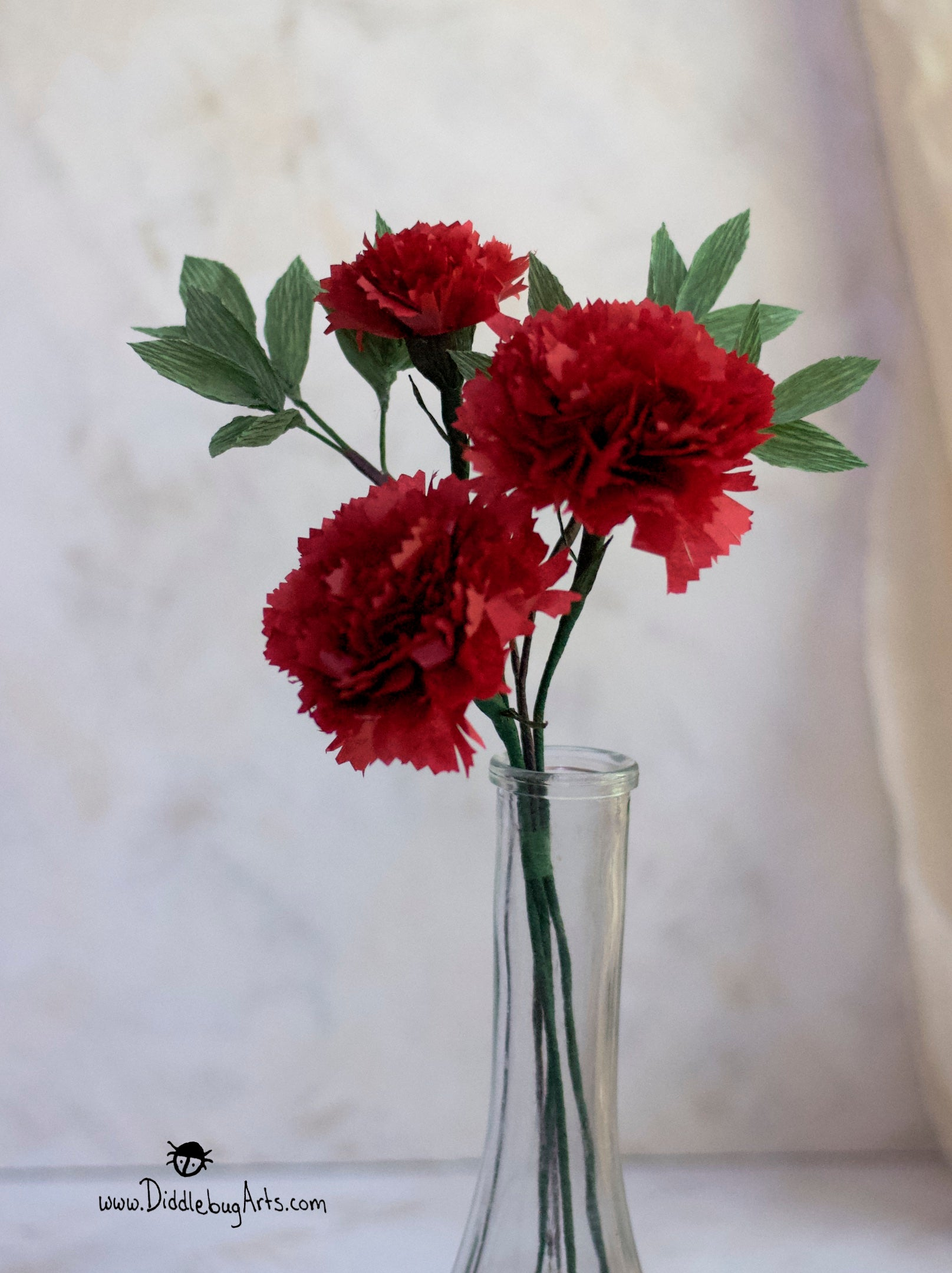 Paper Carnations and Greenery Small Bouquet