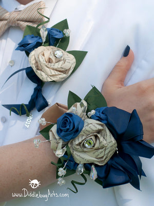 paper flower prom set with corsage with book page roses and bling and a boutonniere with book page rose and bling