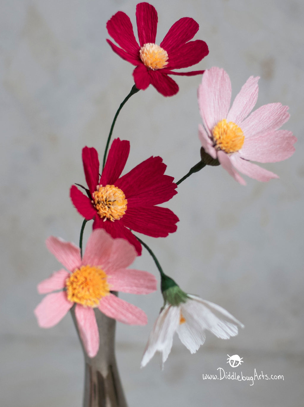 crepe paper cosmos flowers dark and light pinks
